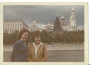 Denise and Russian guide  - June 1966 - with Kremlin etc in background_CROPPED